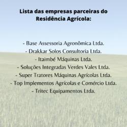 Empresas parceiras do projeto Residência Agrícola.