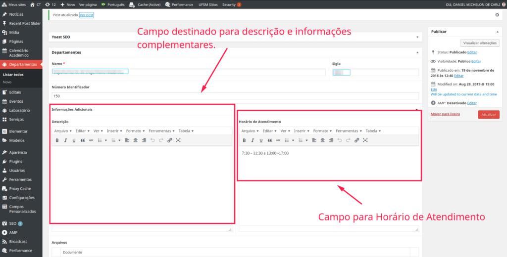 Tela administrativa do WordPress com os cadastros do departamento. Mostra os campos descrição e horário de atendimento em destaque.