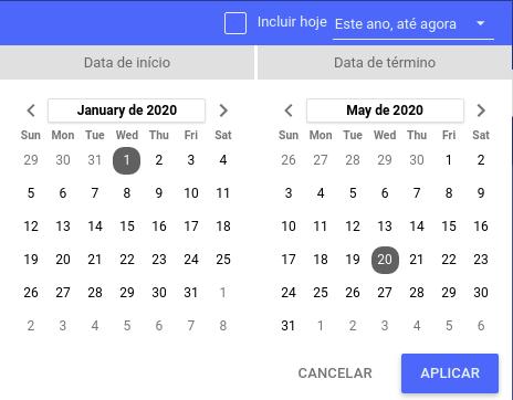Calendário para seleção do período