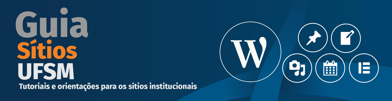 Guia Sítios. Fundo azul marinho com a icone W do wordpress
