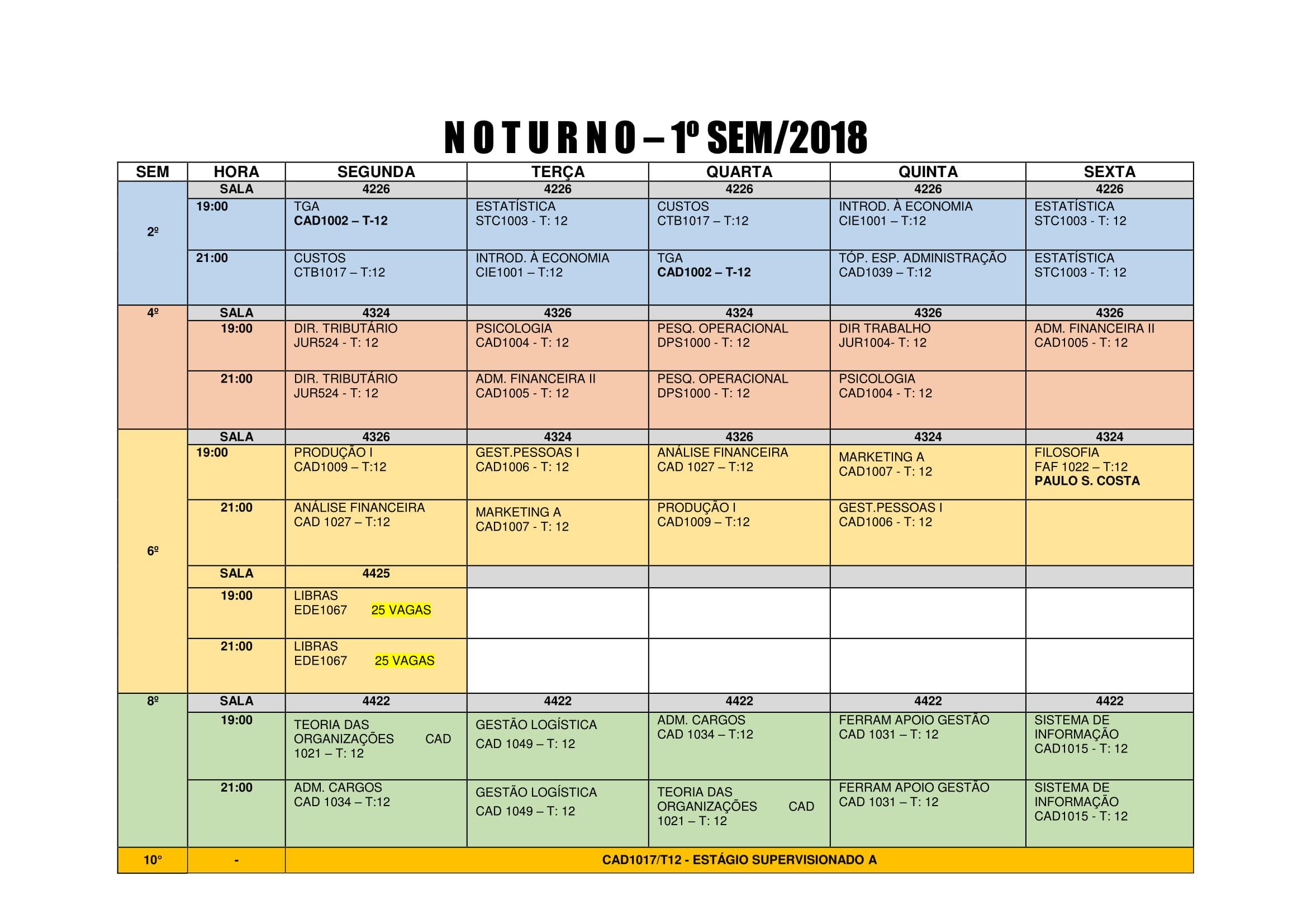 Grade de horarios 2018