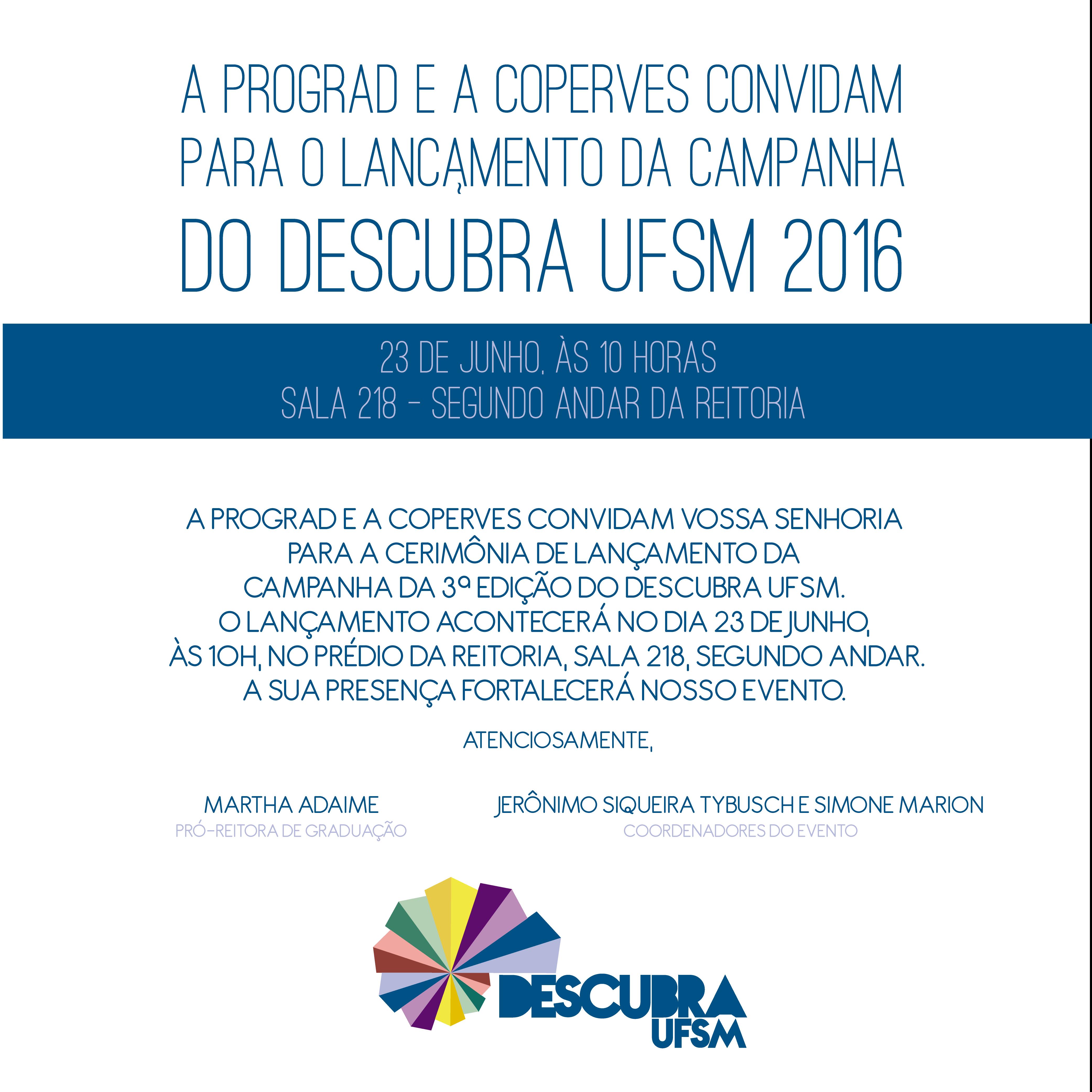 convite lancamento  DESCUBRA UFSM