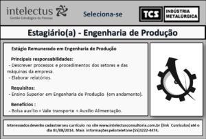 Recrutamento Estágio Engenharia da Produção