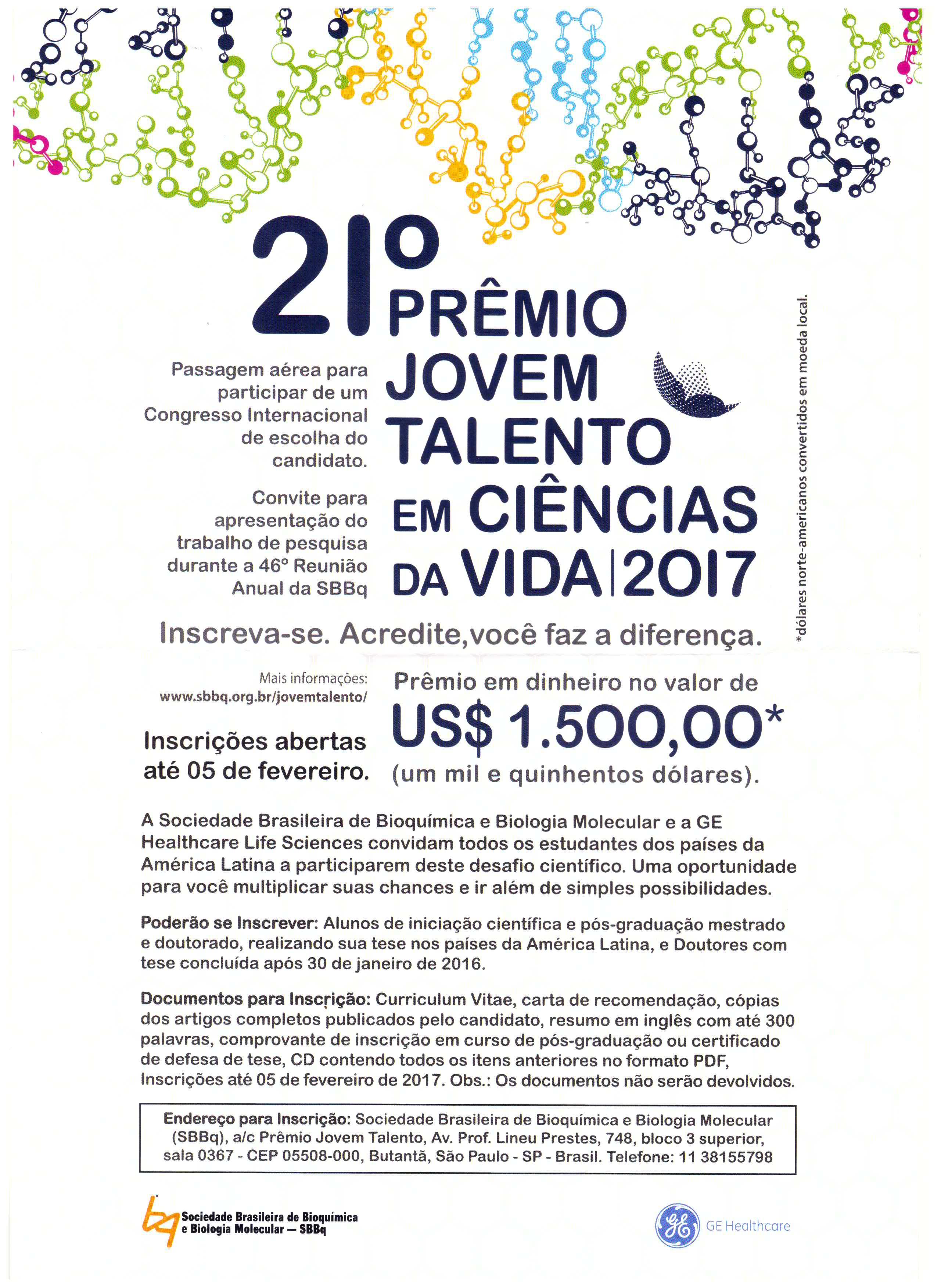 Divulgação Prêmio Jovem Talentos em Ciências da Vida 2017