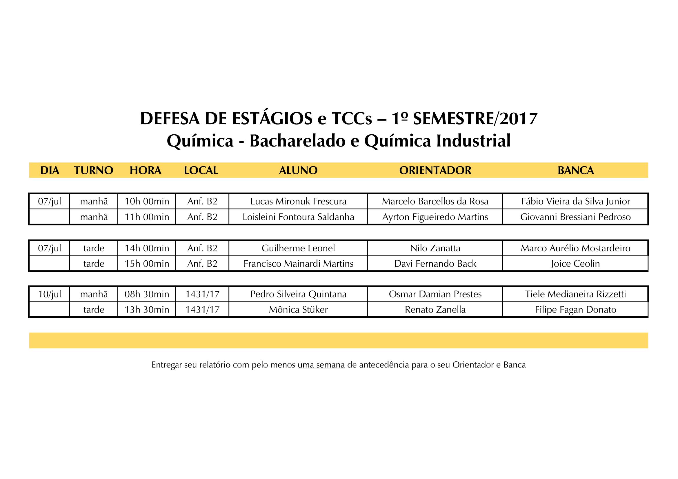 28 de junho Quadro de Horários Defesas 2017.1 1