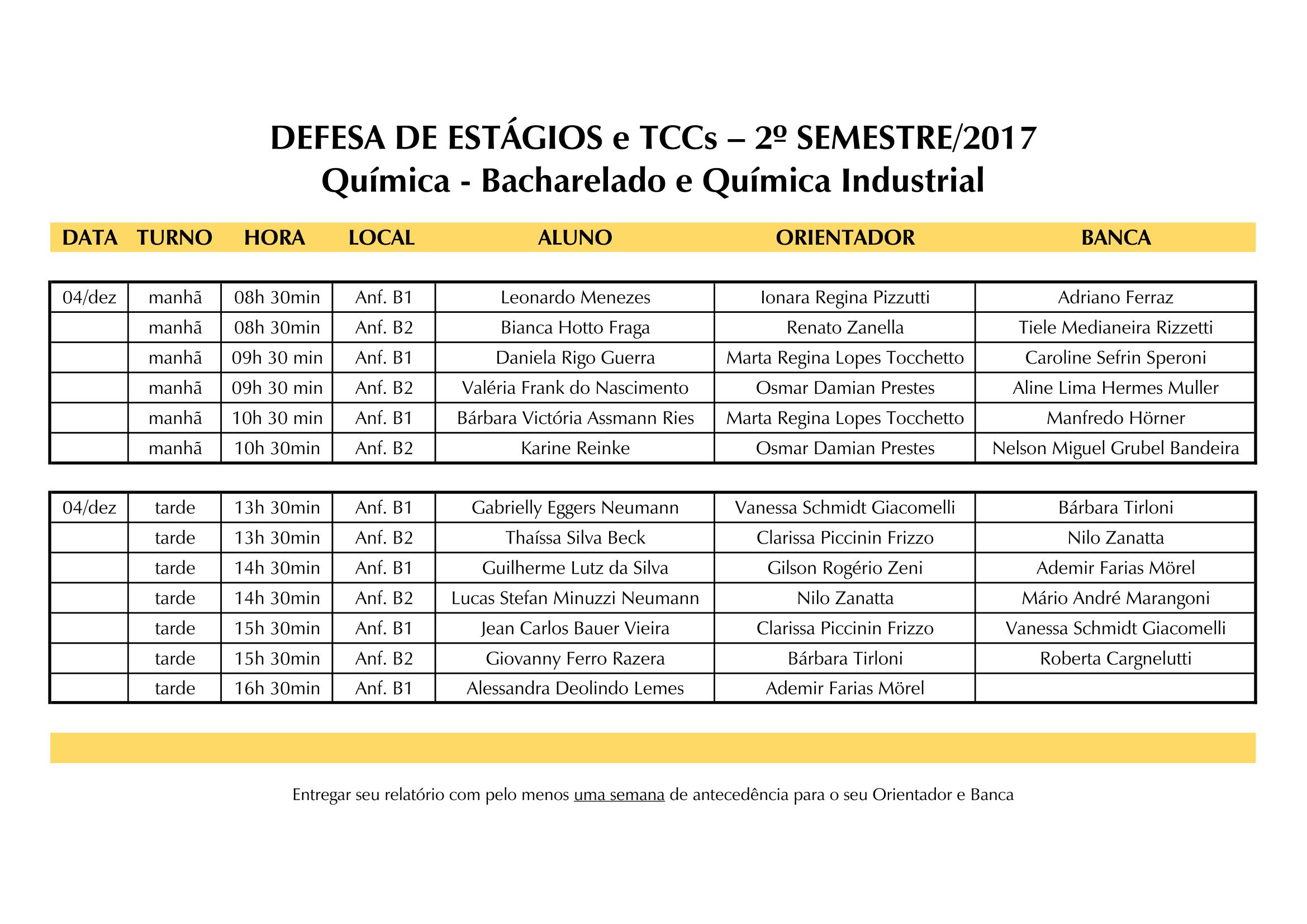Quadro de Horários Defesas 2017.2 1