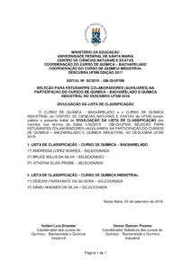 Edital 02 2018 Seleção de bolsistas Descubra Divulgação da lista de classificados