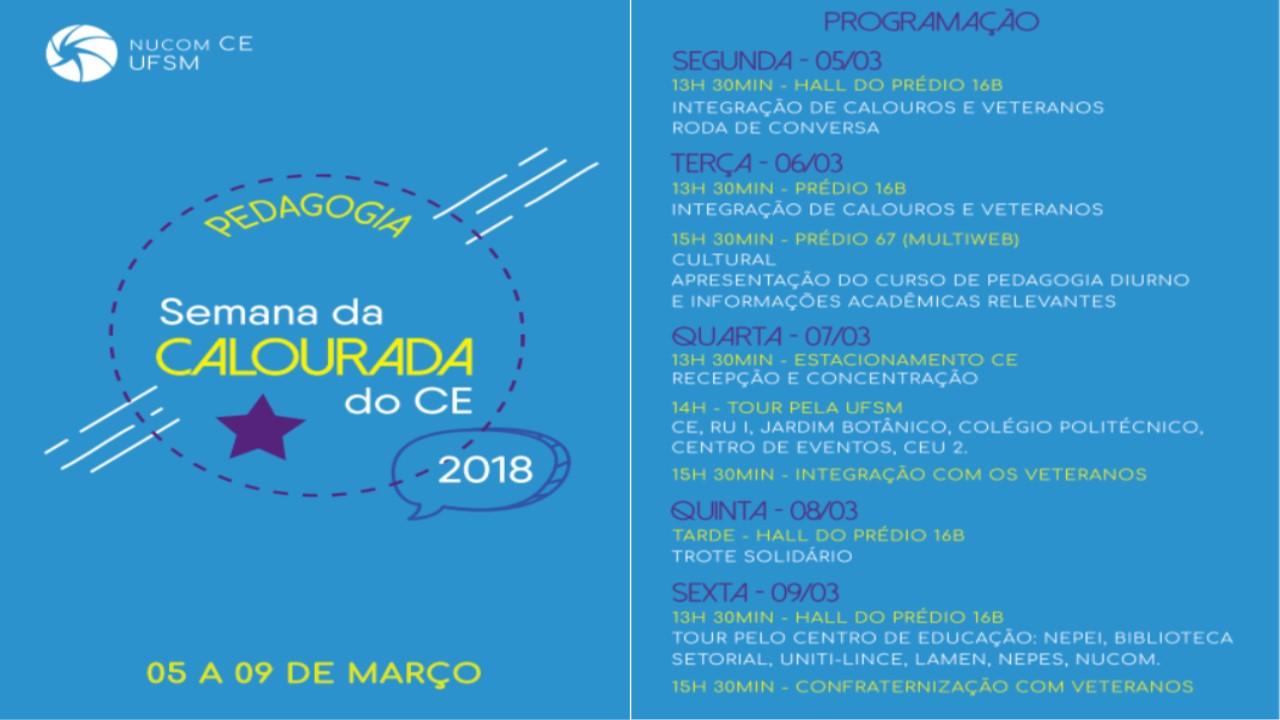 SEMANA DA CALOURADA PEDAGOGIA 2018