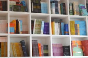Imagem de uma estante com livros
