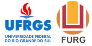 Logos das entidades apoiadoras do evento, da esquerda para direita Universidade Federal do Rio Grande do Sul (UFRGS) e Universidade Federal do Rio Grande (FURG).