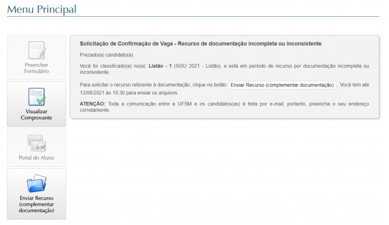print da tela do portal de confirmação de vaga