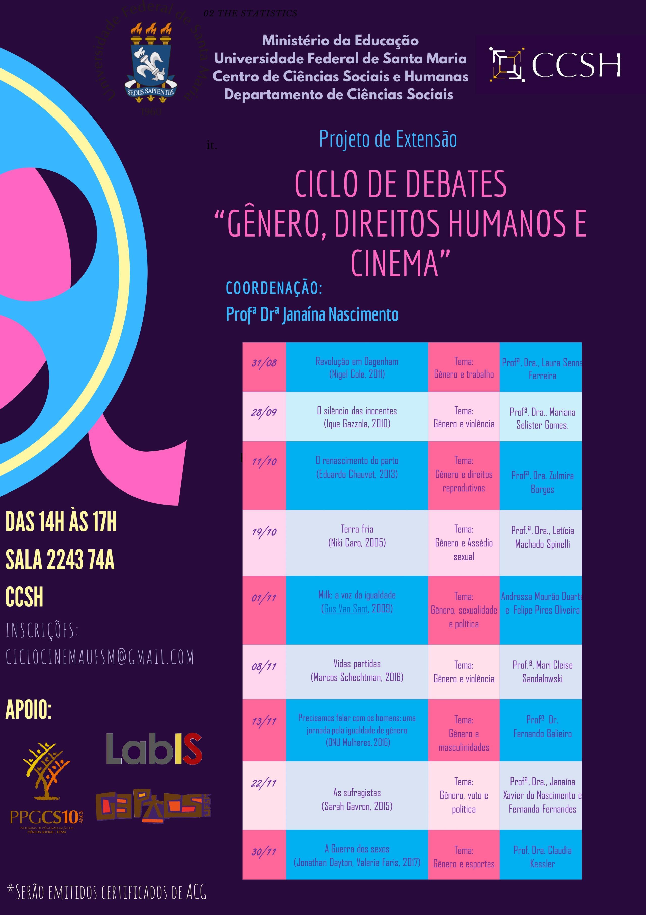 Cartaz Ciclo de Debates 2018  Gnero Direitos Humanos e cinema Janaina