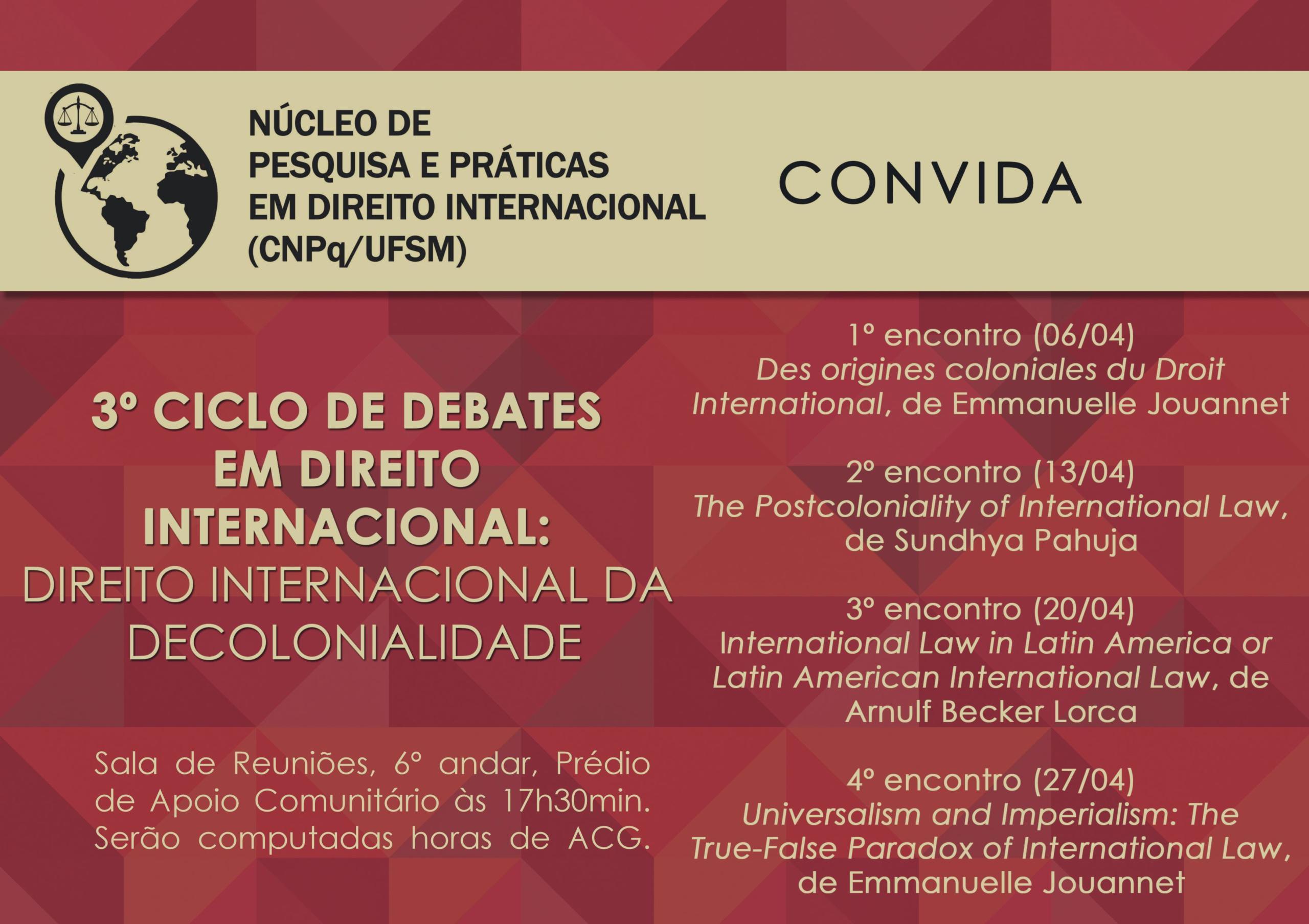 Cartaz 3 Ciclo de Debates em Direito Internacional