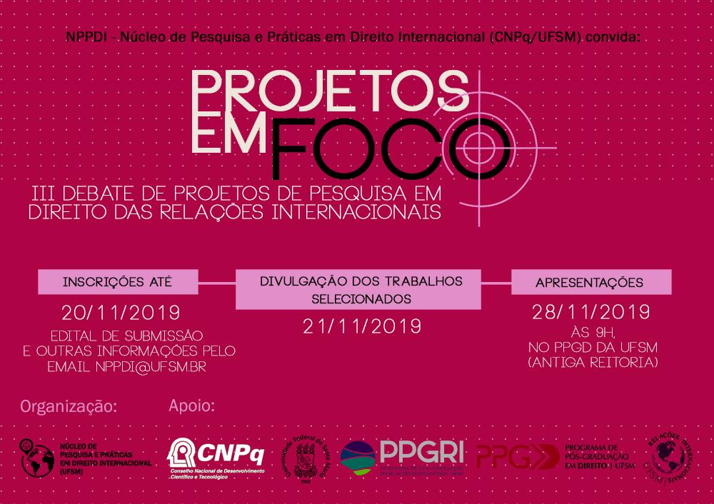 projetos em foco 2019 atualizado