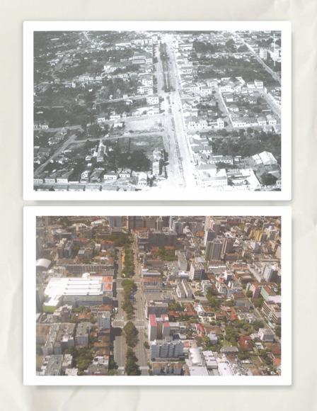 Avenida Rio Branco e seus arredores em 135 (acima) e 2008 (abaixo). As setas indicam pontos de crescimento urbano e a consequente perda de espaços verdes. Fonte: MARCHIORI, J.N.; NOAL FILHO, V. A.; MACHADO, P. F. S. Do céu de Santa Maria. Santa Maria: PMSM, 2008.