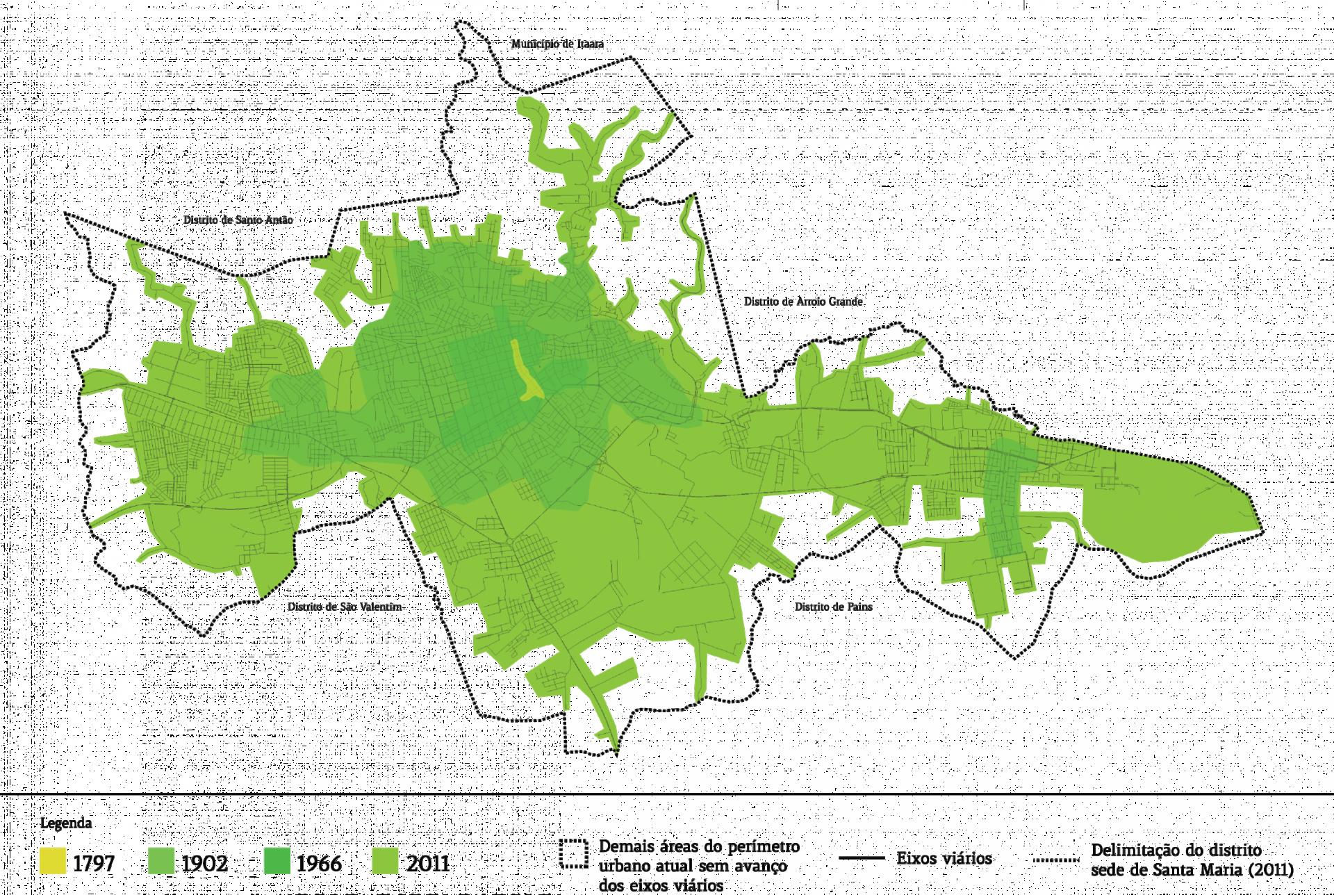 Projeção de crescimento da área urbana de Santa Maria. O mapa foi elaborado pelo pesquisador Daniel Borini Alves.