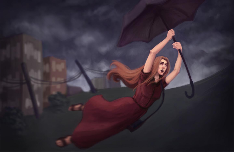 Ilustração de mulher segurando guarda-chuva enquanto é levada pelo vento