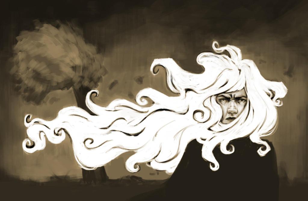 Ilustração de rosto de mulher com cabelo muito longo ao vento