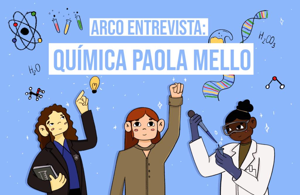 Ilustração de 3 pesquisadoras mulheres da área de química
