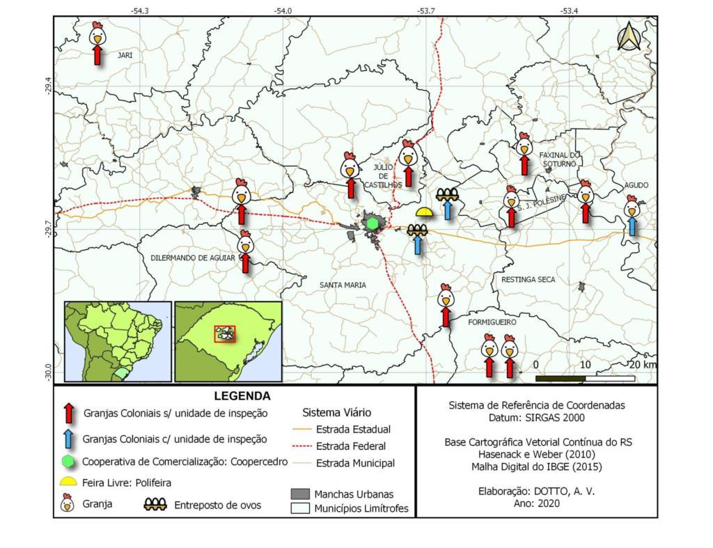 Imagem colorida de mapa da central do estado do Rio Grande do Sul. São demarcadas algumas cidades que participam do projeto da Polifeira.