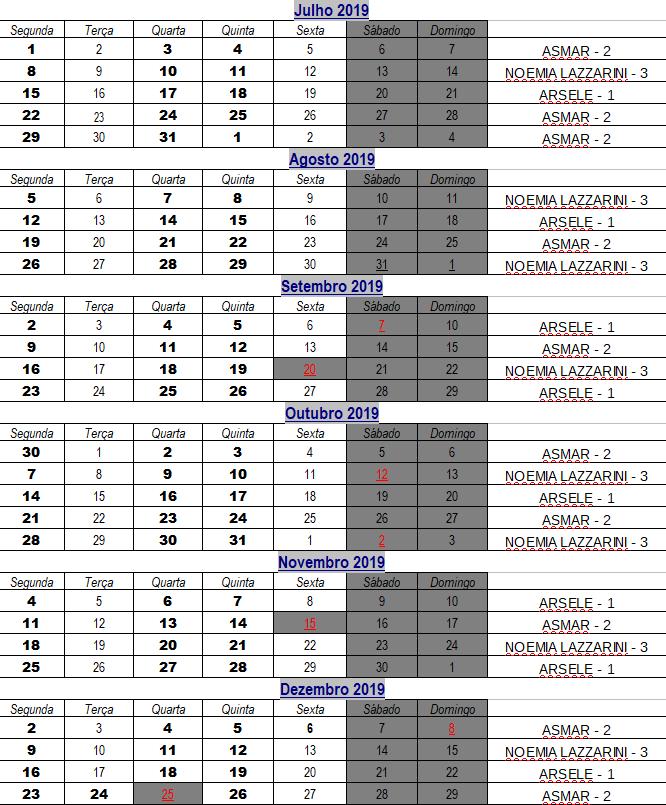 Agenda com datas marcadas para a coleta seletiva