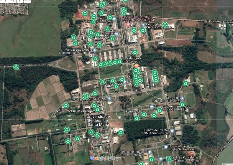 Mapa aéreo com a disposição dos contêineres da Coleta Seletiva Solidária