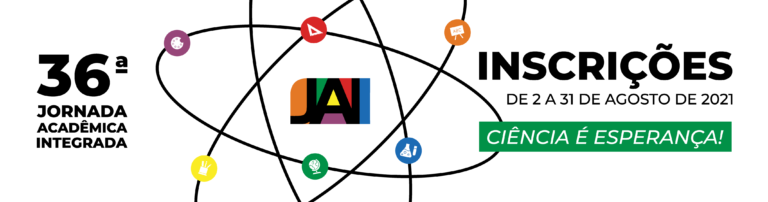 Banner branco com ilustração de átomo em torno da marca da JAI. Texto: 36ª Jornada Acadêmica Integrada. Inscrições de 2 a 31 de agosto. Ciência é esperança.