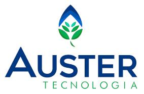 """Imagem colorida da logomarca de uma empresa com o nome """"Auster"""". Em destaque, em caixa alta, a palavra """"Auster"""", na cor azul escuro. Na parte superior, centralizada, a ilustração de uma folha em tons de azul e verde. Na parte inferior, abaixo do nome Auster, alinhado à direita e em letras menores, a palavra """"tecnologia"""", na cor verde. Na parte superior, centralizado"""