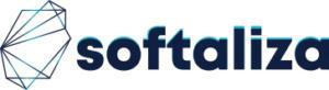 """Imagem da logomarca de uma empresa de nome Softaliza. Em destaque, a palavra """"softaliza"""". À esquerda, uma forma geométrica abstrata formada com triângulos vazados e sobrepostos."""