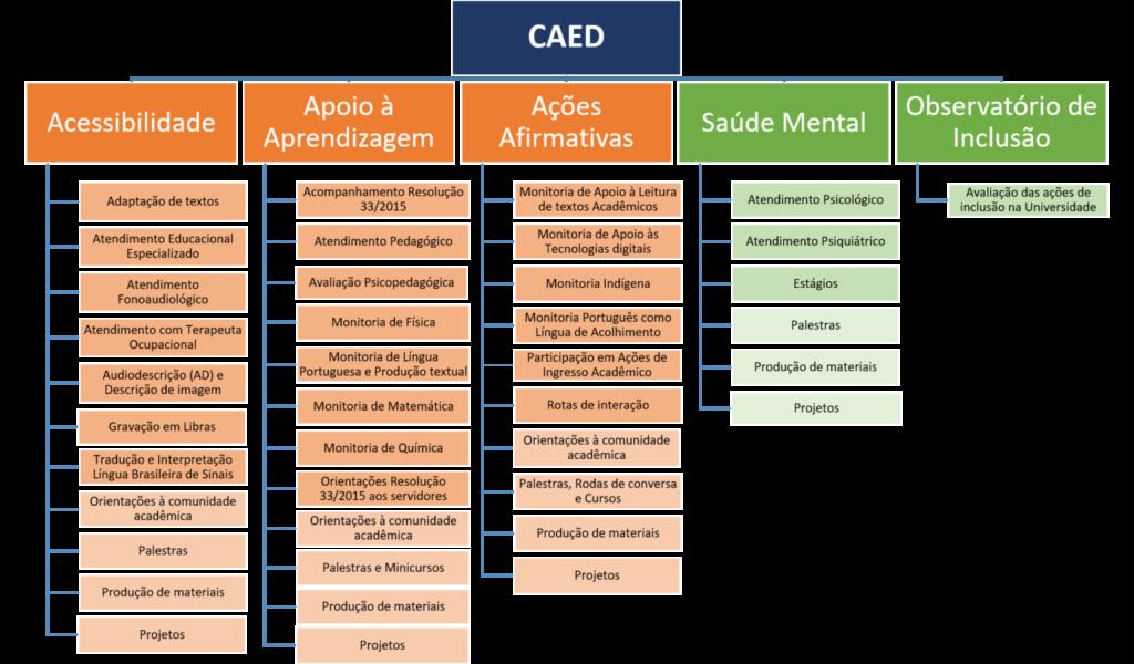 Imagem do fluxograma da Coordenadoria de Ações Educacionais (CAED). Na parte superior da imagem, centralizado, está uma caixa (retângulo) na cor azul, com a escrita CAED. Abaixo, ligadas a ela, estão cinco caixas – três na cor laranja e duas na cor verde. Na cor laranja estão, da esquerda para a direita: a caixa com a escrita Acessibilidade, a caixa com a escrita Apoio à Aprendizagem e a caixa com a escrita Ações Afirmativas. Na mesma linha, as caixas verdes são, respectivamente, a caixa com a escrita Saúde Mental e a caixa com a escrita Observatório de Inclusão. Abaixo da caixa com a escrita Acessibilidade estão, uma abaixo da outra, 11 caixas na cor laranja claro, representando as ações desenvolvidas: Adaptação de textos; Atendimento Educacional Especializado; Atendimento Fonoaudiológico; Atendimento com Terapeuta Ocupacional; Audiodescrição (AD) e Descrição de imagem; Gravação em Libras; Tradução e Interpretação Língua Brasileira de Sinais; Orientações à comunidade acadêmica; Palestras; Produção de materiais; e Projetos, sendo as 4 últimas caixas em tom de laranja ainda mais claro. Abaixo da caixa com a escrita Apoio à Aprendizagem estão, uma abaixo da outra, 12 caixas na cor laranja claro, representando as ações desenvolvidas: Acompanhamento Resolução 33/2015; Atendimento Pedagógico; Avaliação Psicopedagógica; Monitoria de Física; Monitoria de Língua Portuguesa e Produção textual; Monitoria de Matemática; Monitoria de Química; Orientações Resolução 33/2015 aos servidores; Orientações à comunidade acadêmica; Palestras e Minicursos; Produção de materiais; e Projetos, sendo as 4 últimas caixas em tom de laranja ainda mais claro. Abaixo da caixa com a escrita Ações Afirmativas estão, uma abaixo da outra, 10 caixas na cor laranja claro, representando as ações desenvolvidas: Monitoria de Apoio à Leitura de textos Acadêmicos; Monitoria de Apoio às Tecnologias digitais; Monitoria Indígena; Monitoria Português como Língua de Acolhimento; Participação em Ações de Ingresso