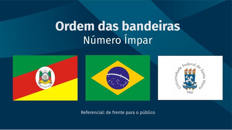 Ordem das bandeiras, quando número ímpar: Rio Grande do Sul, Brasil e UFSM