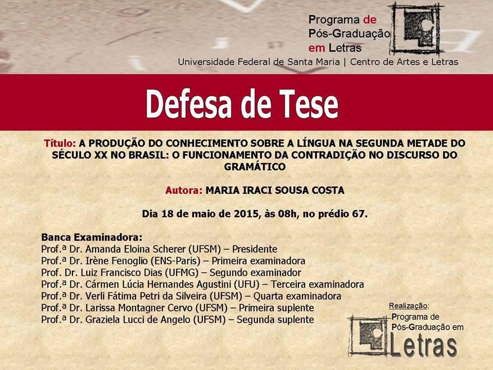 Defesa de Tese - Maria Iraci