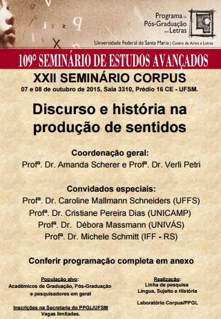 cartaz 109 Seminário e Estudos Avançados