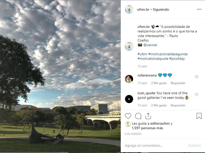 Exemplo de conteúdo periódico no Instagram