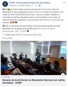 Exemplo de post no Facebook com texto e link