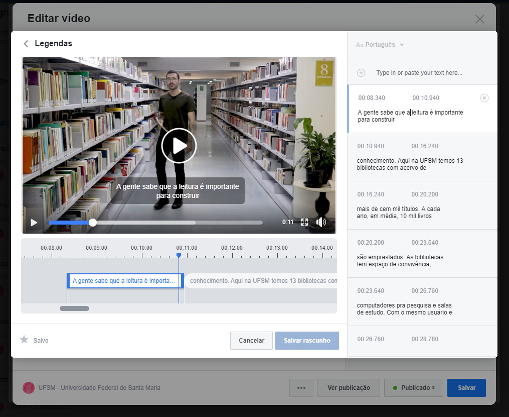 Tutorial 3 de como inserir legenda em vídeo do Facebook