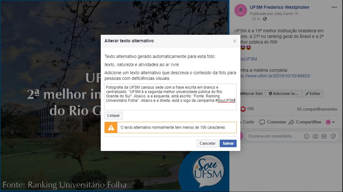 Tutorial 2 de como editar texto alternativo em imagem no Facebook