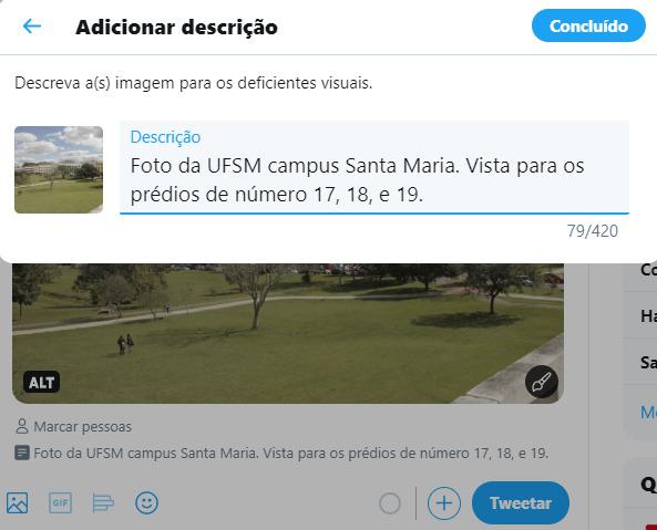 Tutorial 2 de como inserir texto alternativo em foto do Twitter