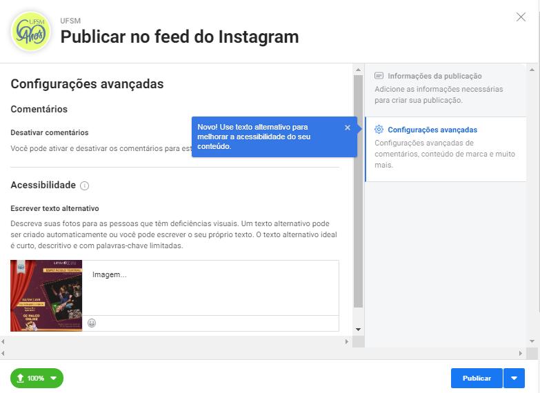 Como inserir texto alternativo em imagem do Instagram pelo Estúdio de Criação