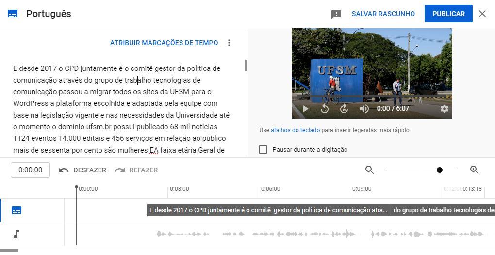 Tela de edição de legenda conforme tempo do vídeo no YouTube